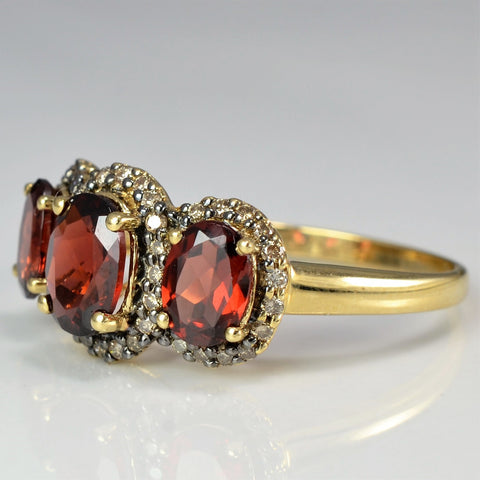 Champagne Diamond And Garnet Cocktail Ring