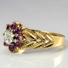 Floral Inspired Ruby & Diamond Vintage Ring | 0.01 ct, SZ 5.75 |