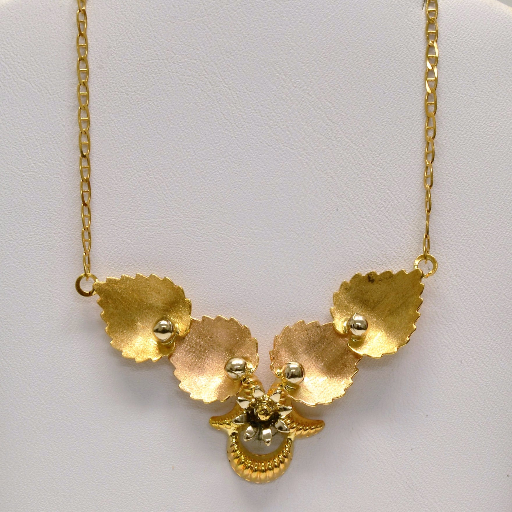 Tri Tone Leaf Necklace & Earrings Set | 18"