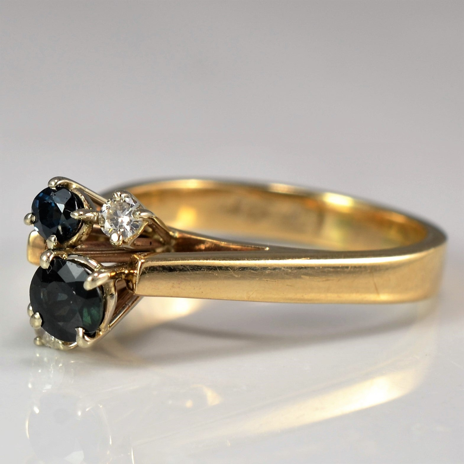 High Set Diamond & Sapphire Ring | 0.08 ctw, SZ 6 |