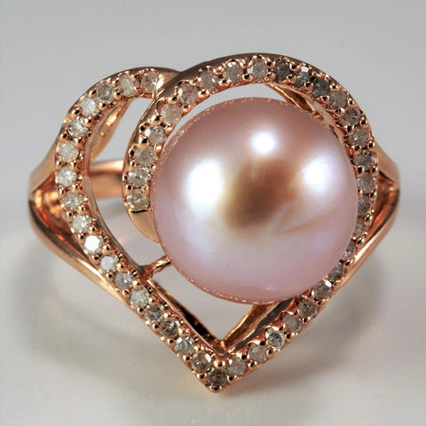 Rose Gold Pearl & Diamond Heart Ring | 0.25 ctw, SZ 7 |