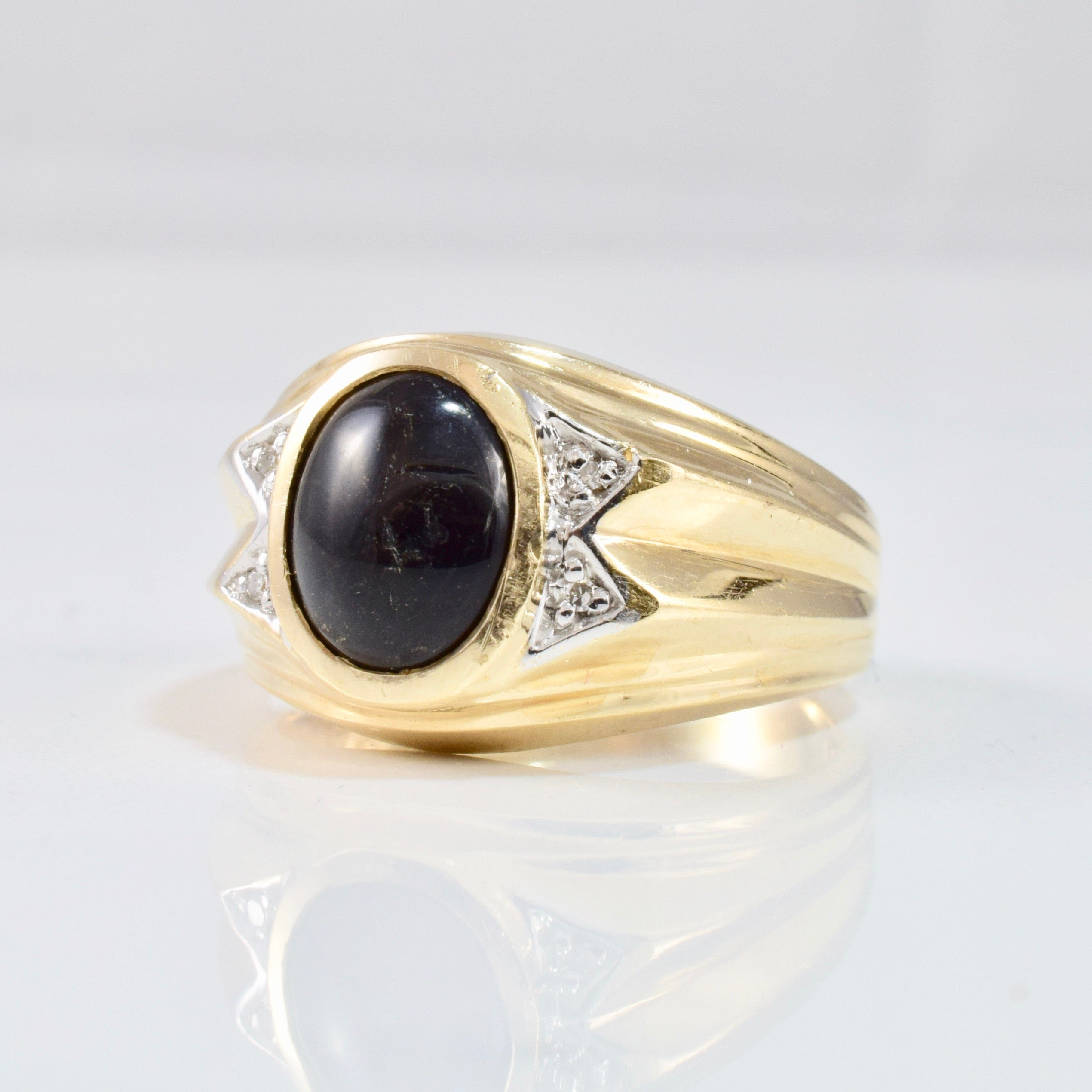 Bezel Set Onyx & Diamond Ring | 0.02 ctw SZ 9 |