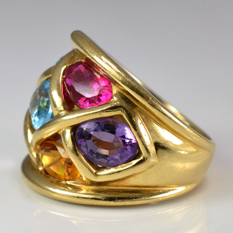 Colourful Multi Gem Cocktail Ring | SZ 5.25 |