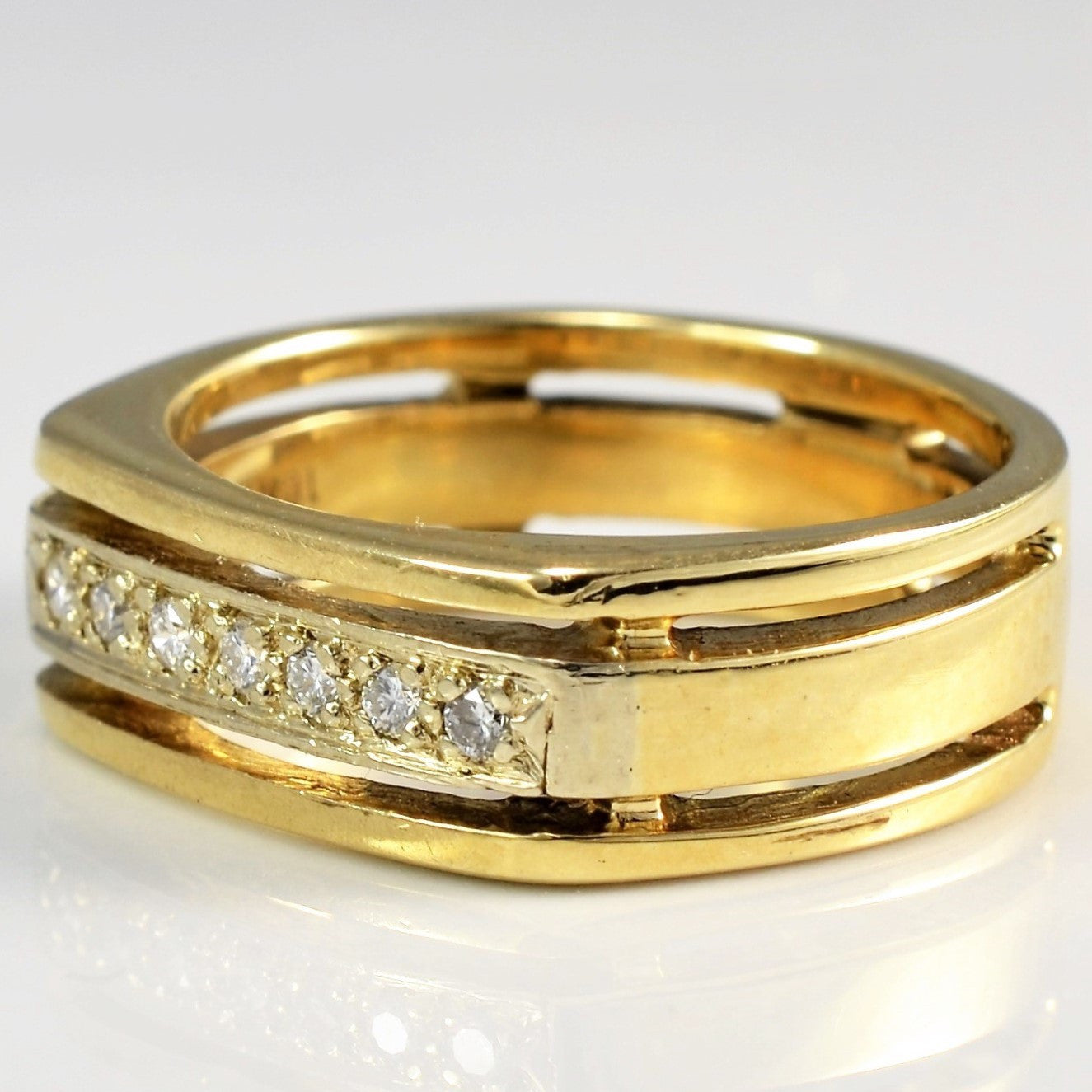 Yellow Gold Unisex Diamond Ring | 0.10 ctw, SZ 6.75 |