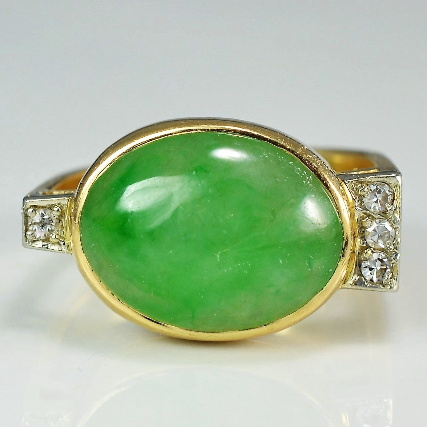 Oval Cabochon Jadeite Cocktail Ring | 0.06 ctw, SZ 5.25 |