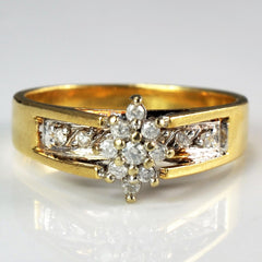 Cathedral Style Diamond Cluster Ring | 0.15 ctw, SZ 6.25 |
