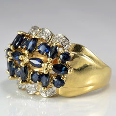 Marquise Sapphire & Diamond Cocktail Ring | 0.08 ctw, SZ 6.75 |