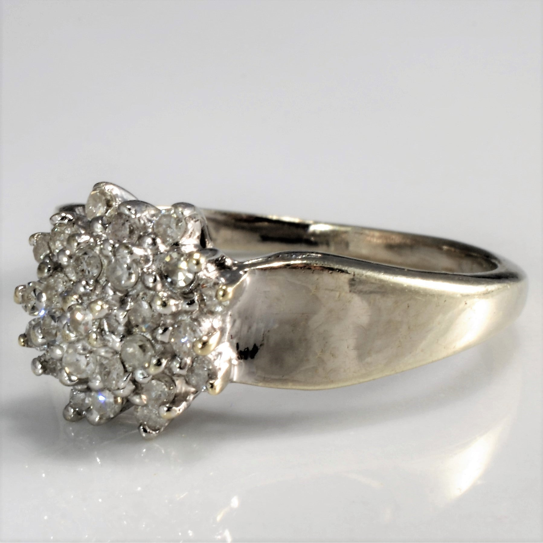 White Gold Diamond Cluster Ring | 0.25 ctw, SZ 4.25 |