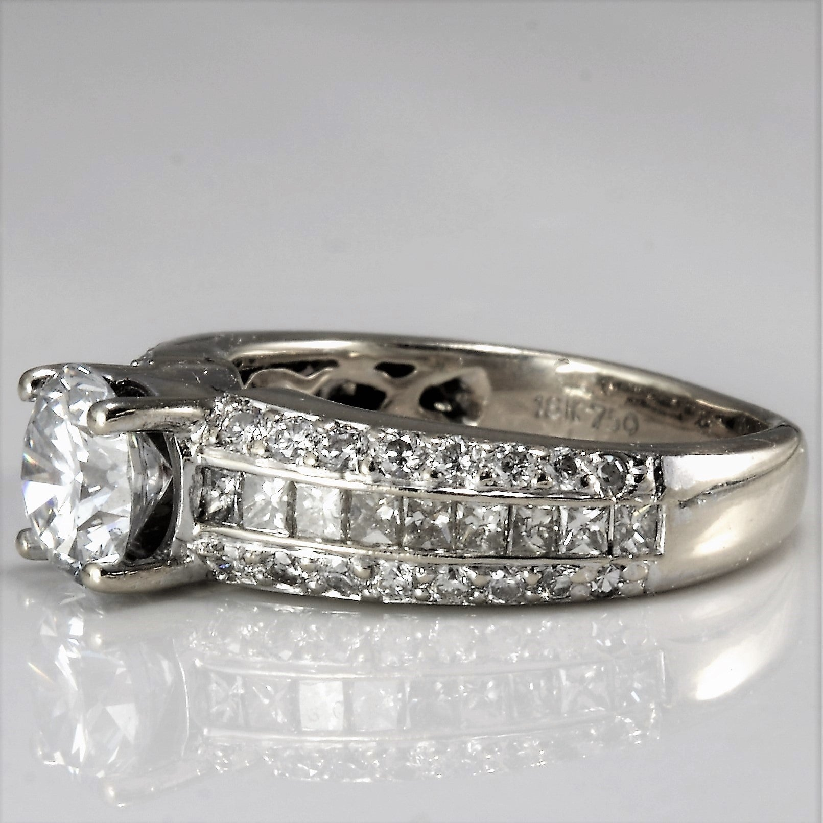 Exceptional Wide Band Pave Engagement Ring | 1.80 ctw, SZ 5.25 |