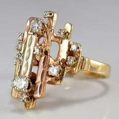Unique Two Tone Diamond Cocktail Ring | 0.41 ctw, SZ 7 |