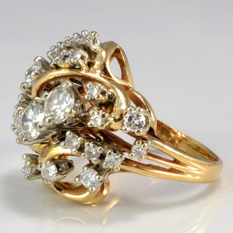 Beautiful High Set Diamond Cocktail Ring | 1.48 ctw, SZ 6.75 |
