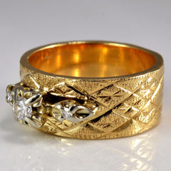 Textured Wide Band Diamond Ring | 0.12 ctw, SZ 6.5 |