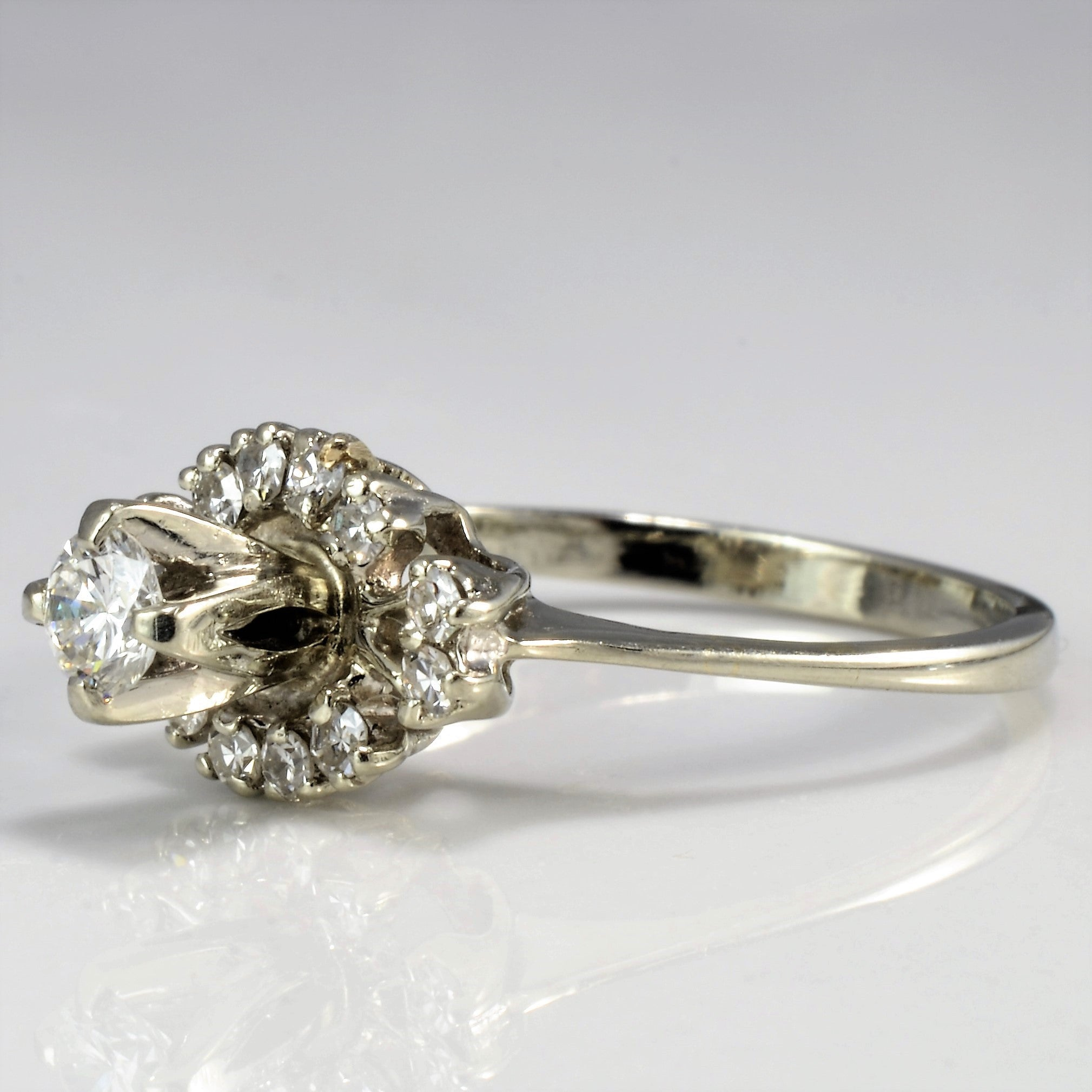 Retro Era Diamond Cluster Engagement Ring | 0.26ctw | SZ 4.5 |