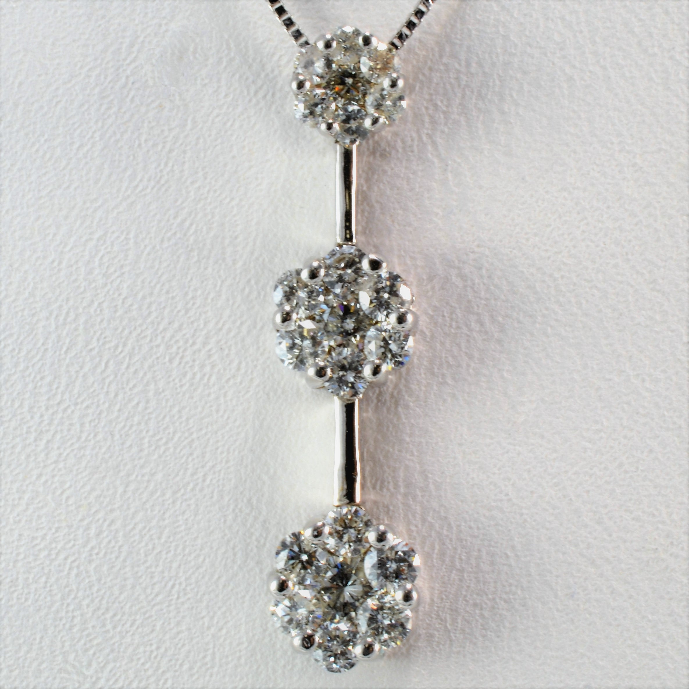 Diamond Cluster Drop Necklace | 0.78 ctw, 18"
