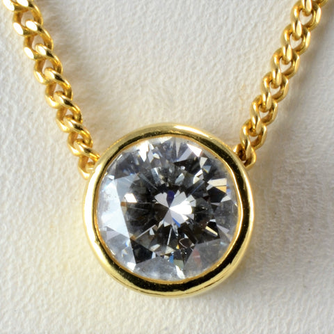 Bezel Set Solitaire Diamond Pendant Necklace | 0.84 ct, 17''|