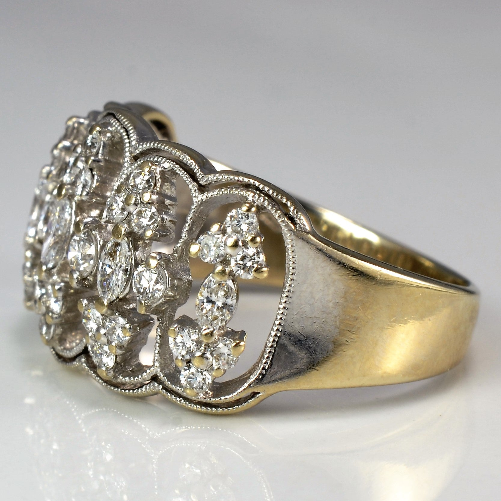 Vintage Milgrain Diamond Cocktail Ring | 1.00 ctw, SZ 8.75 |