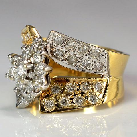 Two Tone Wide Floral Cluster Ring | 1.00 ctw, SZ 5.75 |