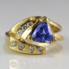 Trillion Cut Tanzanite & Diamond Ring | 0.25ctw, 1.25ct | SZ 5.5 |