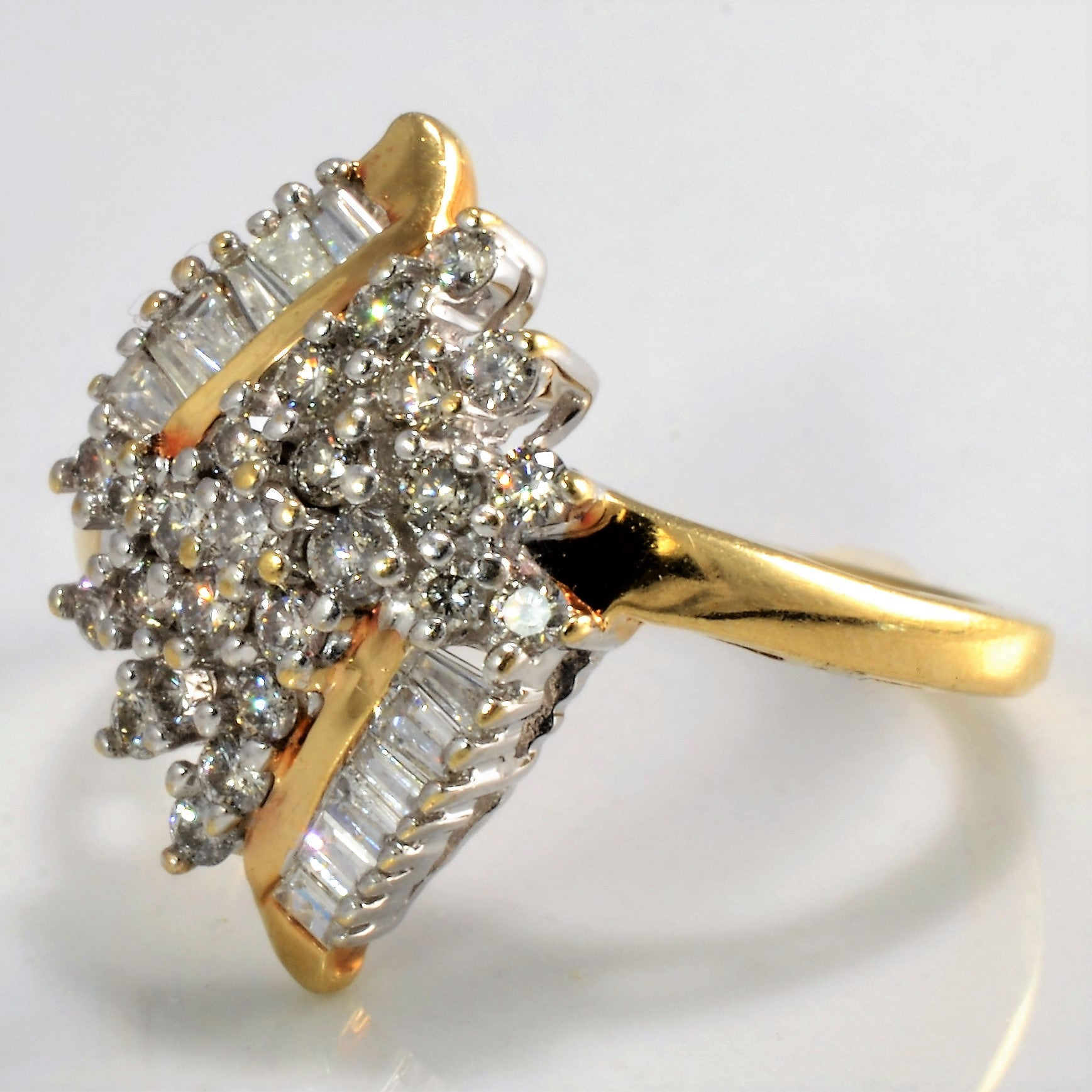 Elegant Waterfall Marquise Shaped Diamond Cluster Ring | 0.52 ctw, SZ 5 |