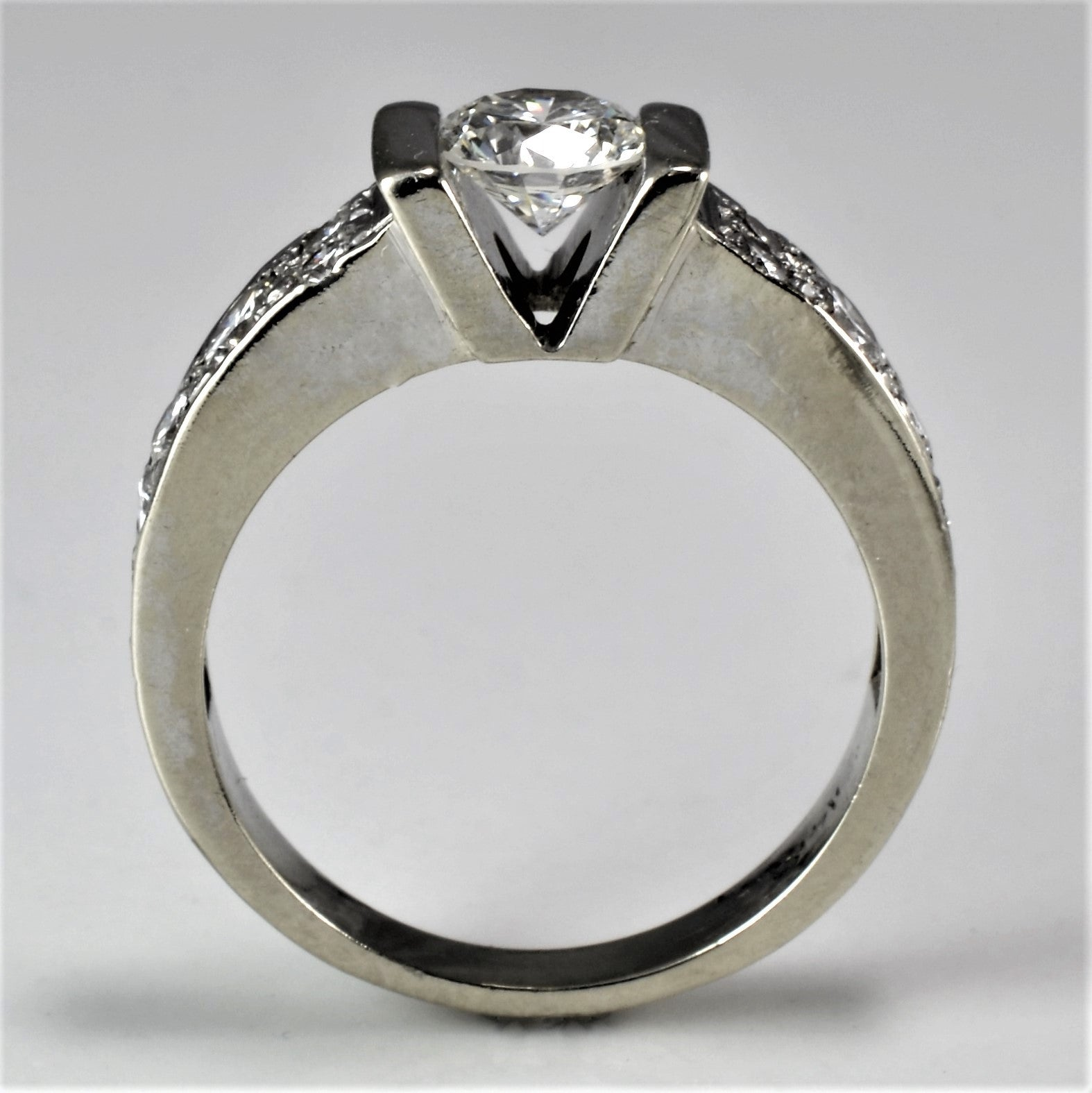 Wide Band Tension Set Engagement Ring | 0.90 ctw | SZ 4.75 |