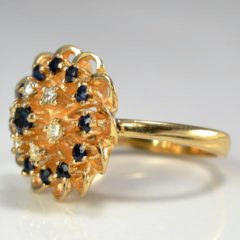 Sapphire And Diamond Floral Cocktail Ring