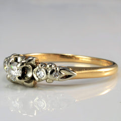 Retro Era Three Stone Diamond Ring | 0.20 ctw, SZ 7 |