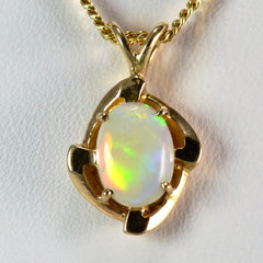 Oval Cabochon Opal Necklace | 18"
