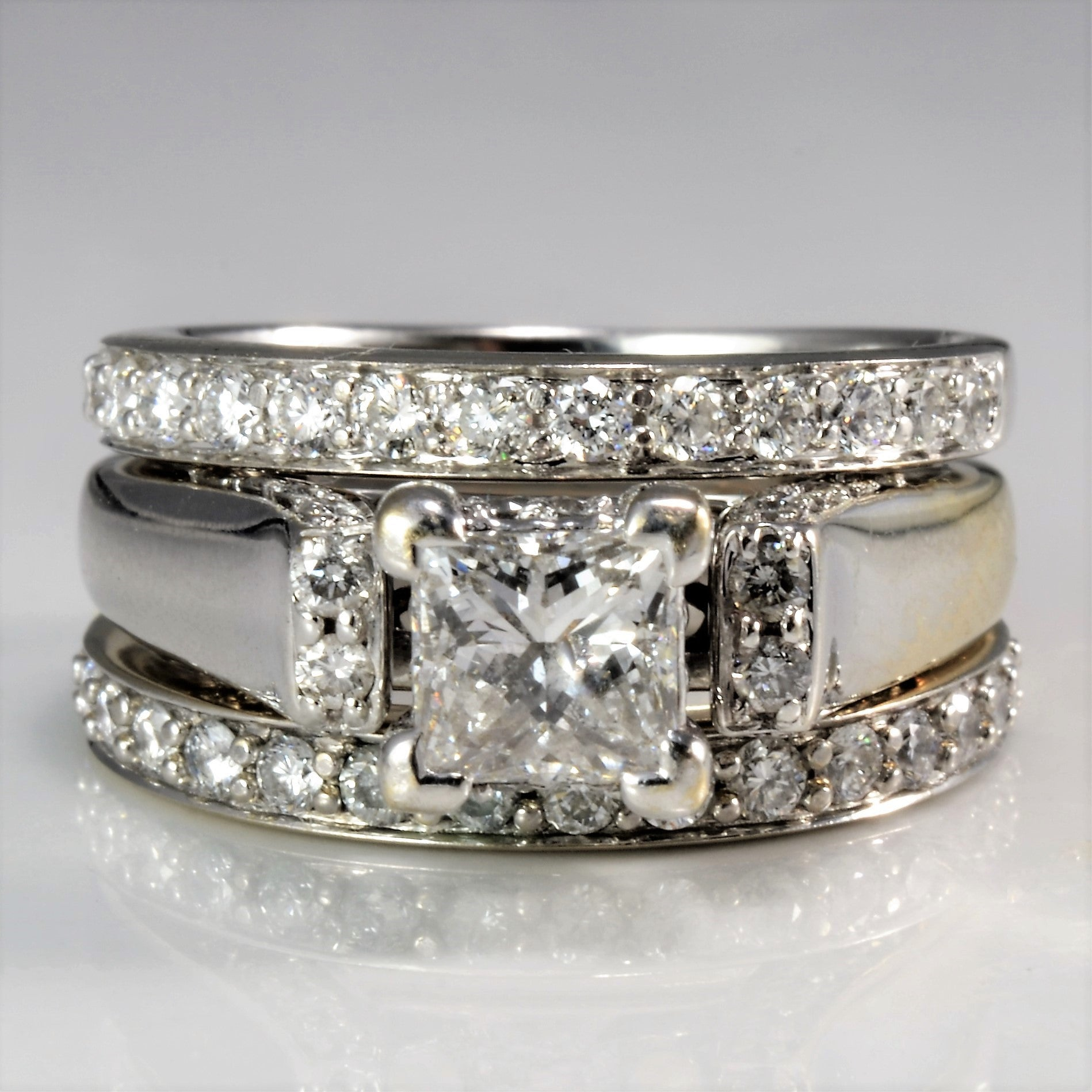 Princess Solitaire Two Band Wedding Set | 0.93 ctw, SZ 4.75 |