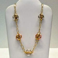 Tri Tone Gold Link Necklace | 16"