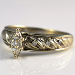 Textured Twisted Marquise Shaped Ring | 0.11 ctw, SZ 7 |