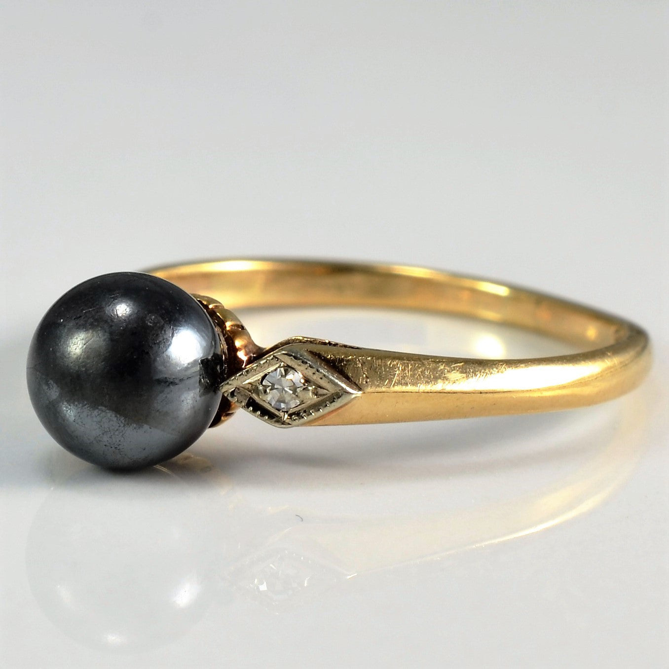 Diamond Accented Cabochon Hematite Ring | 0.02 ctw, SZ 6.25 |
