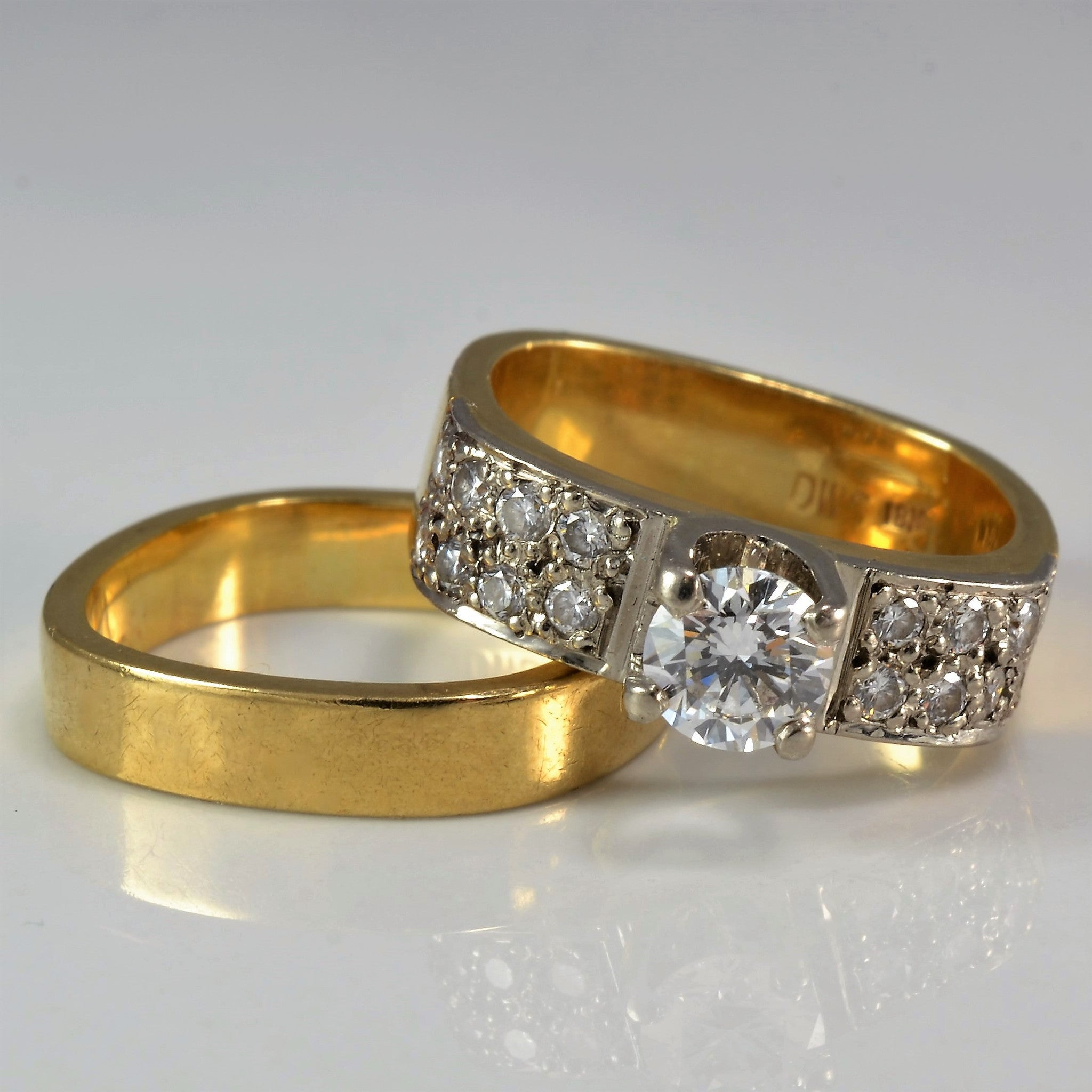 rings discounted yellow bands wedding jewelry princess wide engagement with white ring diamond band in cut nl yg gold