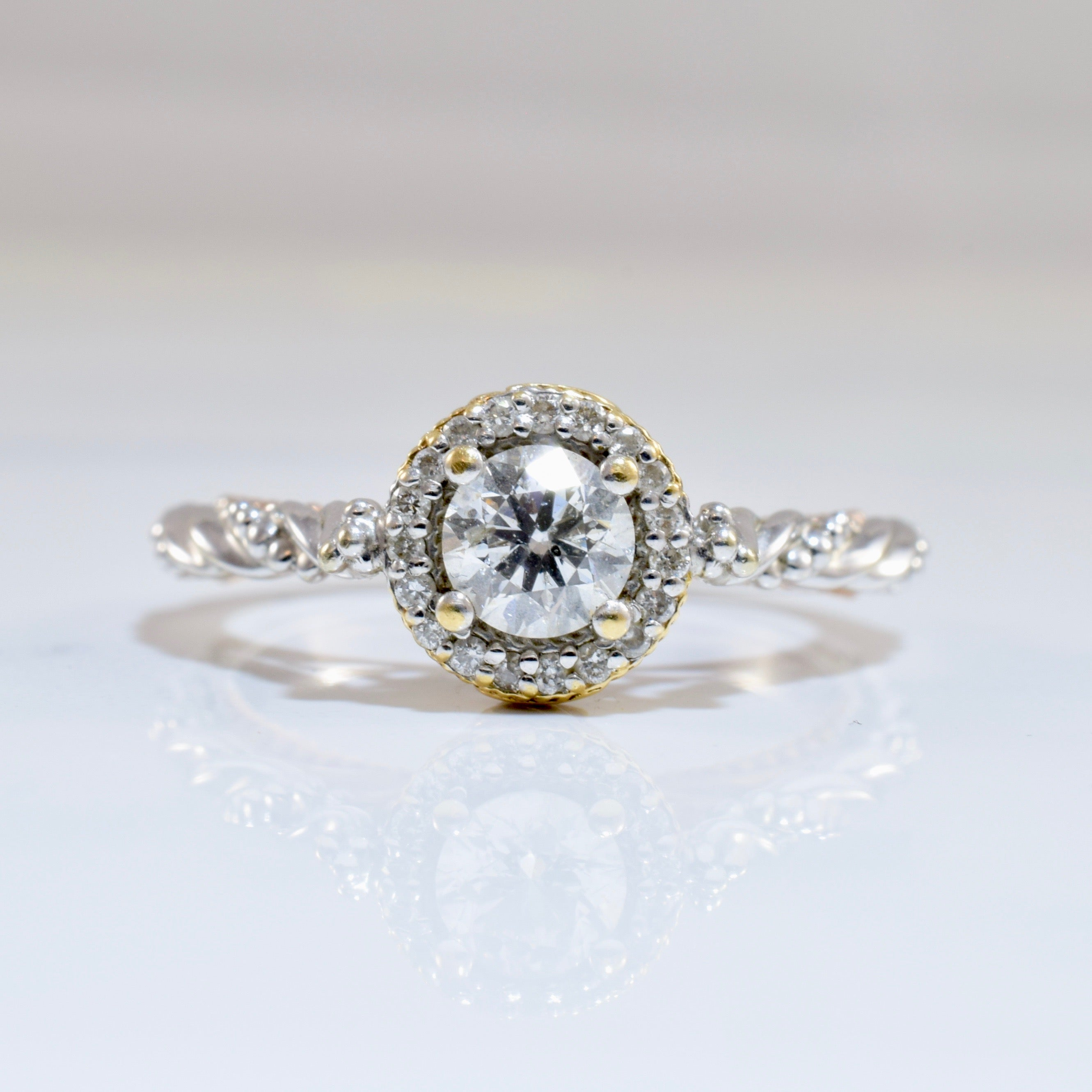 Detailed Diamond Halo Engagement Ring | 0.60 ctw SZ 7.75 |