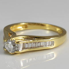 Round Brilliant & Baguette Diamond Engagement Ring | 0.55 ctw, SZ 7 |