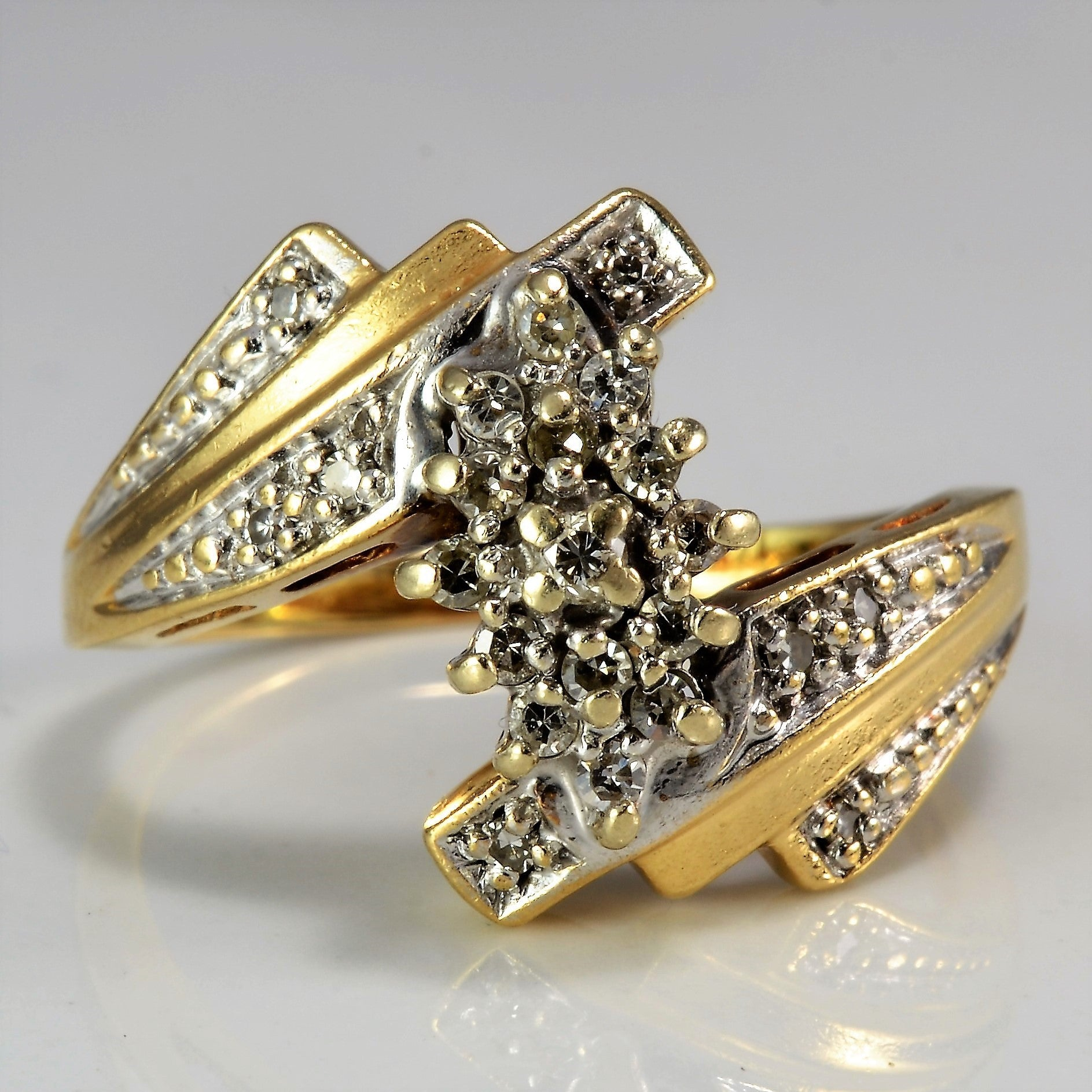 Diamond Bypass Cluster Cocktail Ring | 0.18 ctw, SZ 8 |
