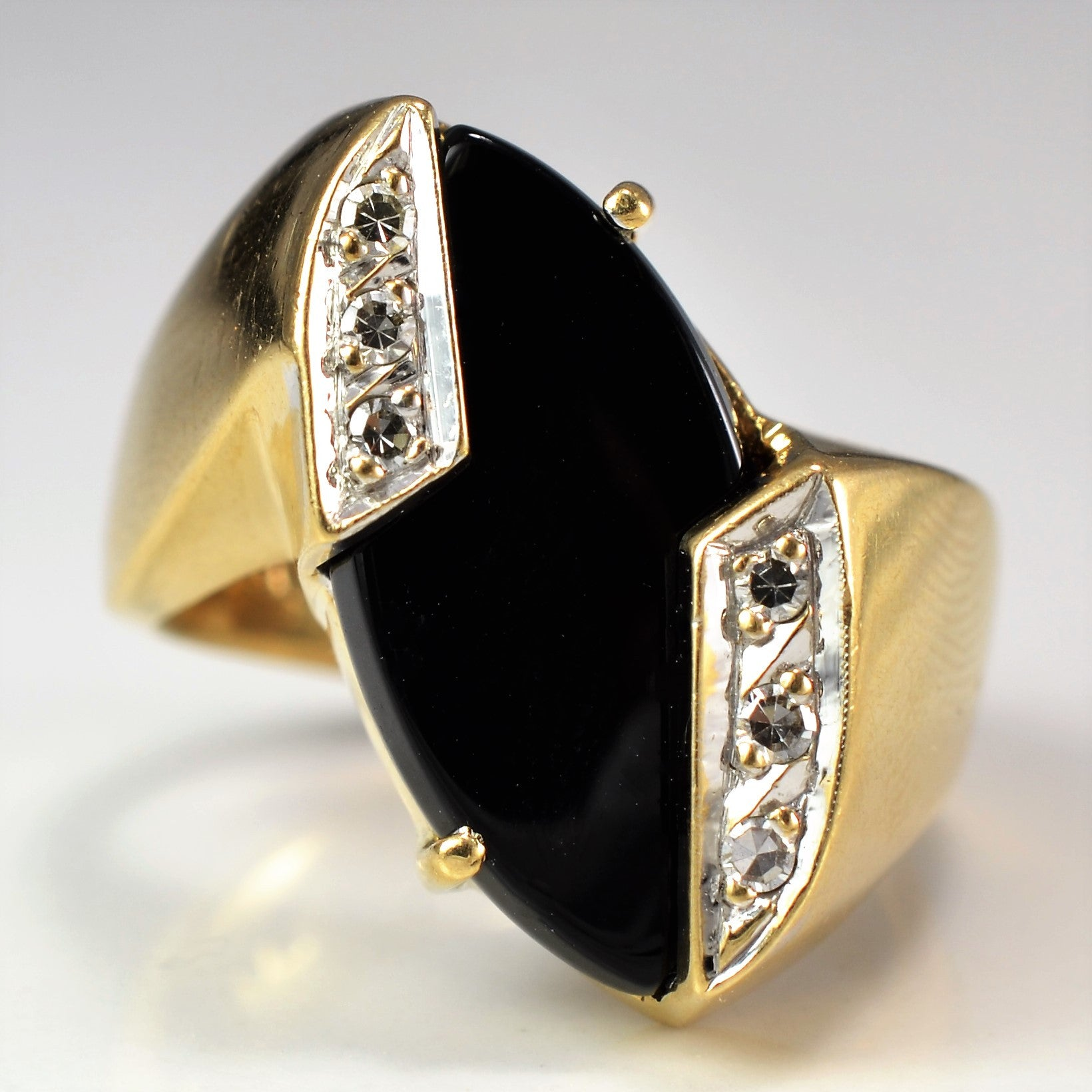 Offset Onyx & Diamond Cocktail Ring | 0.06 ctw, SZ 6.25 |