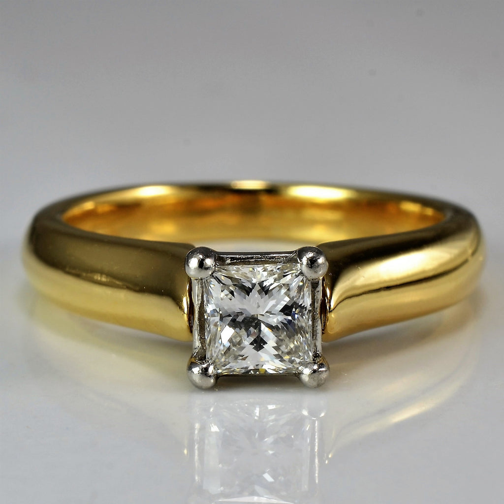 Low Setting Princess Solitaire Engagement Ring   0.42 ct, SZ 5.5  