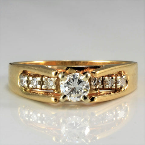 High Set Four Prong Diamond Ring | 0.32 ctw, SZ 7.5 |