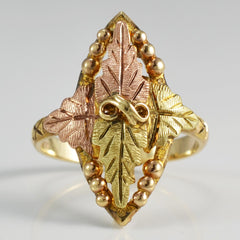 Marquise Shaped Two Tone Leaf Ring | SZ 7.25 |
