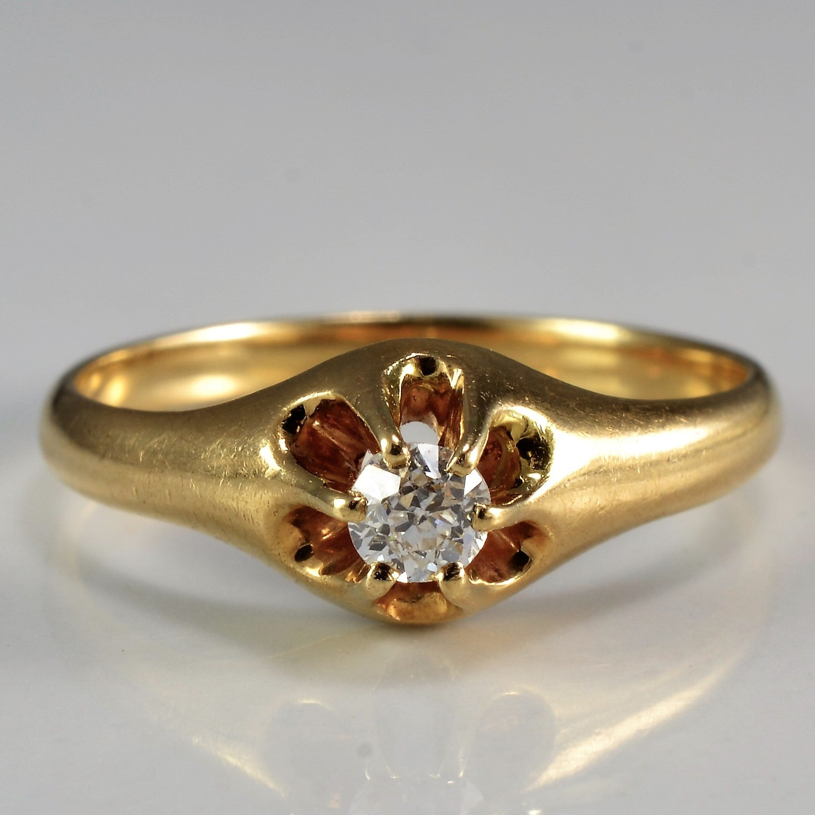Simple Victorian Era Solitaire Engagement Ring | 0.12 ct, SZ 5 |
