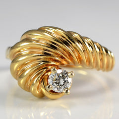 Unique Textured Spiral Diamond Cocktail Ring | 0.20 ct, SZ 6.5 |