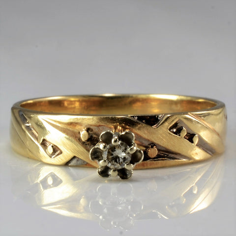 High Set Vintage Solitaire Ring | 0.03 ct, SZ 5.25 |