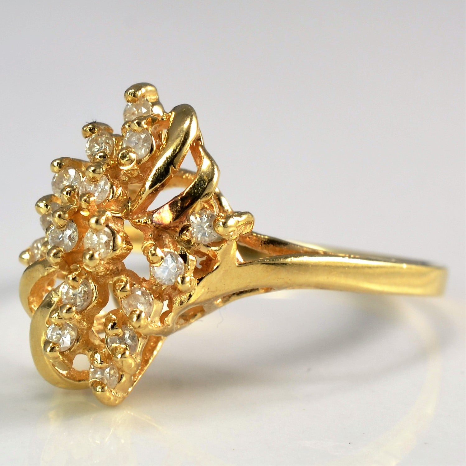 Intricate Yellow Gold Diamond Cocktail Ring | 0.15 ctw, SZ 6.5 |