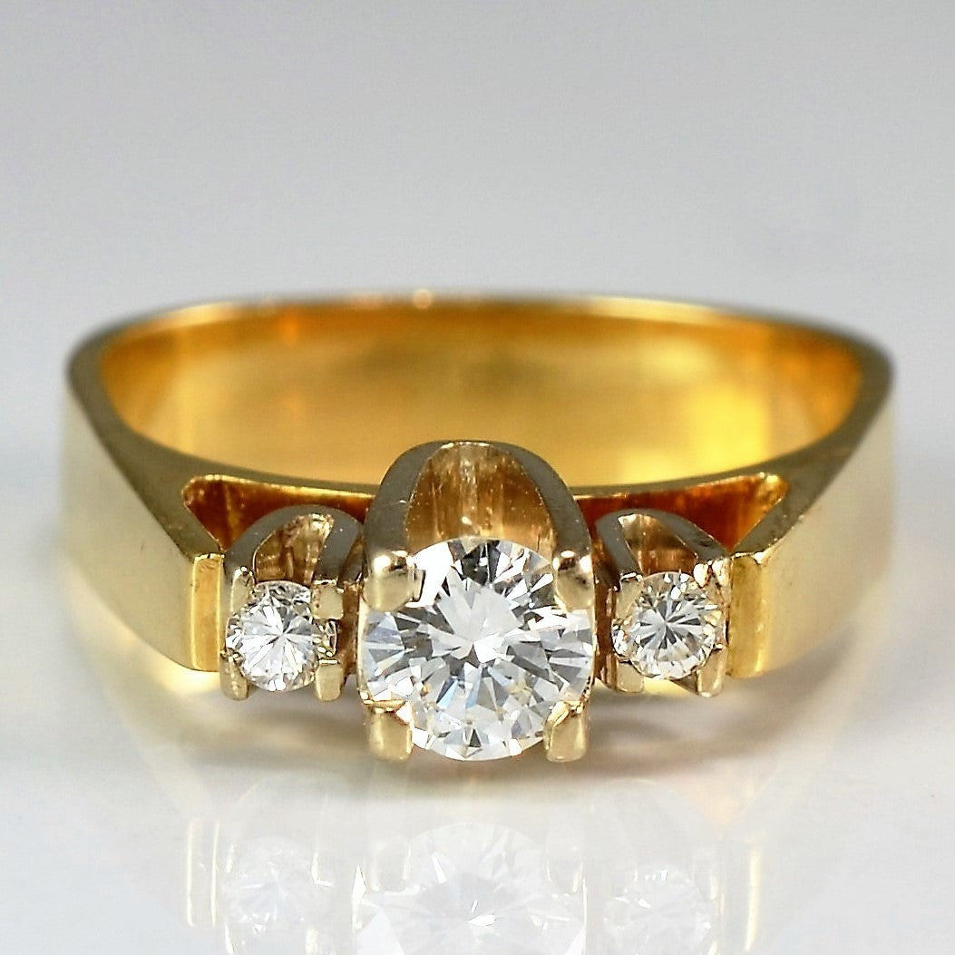 Vintage High Set Three Stone Engagement Ring | 0.33 ctw, SZ 4 |