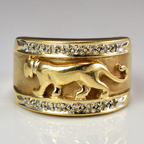 Custom Made Jaguar Ring | 0.10 ctw, SZ 7 |