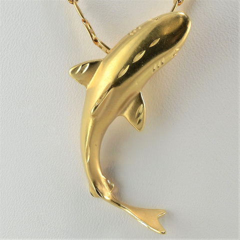 Yellow Gold Shark Necklace | 20"
