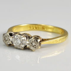 Tapered Three Stone Vintage Engagement Ring | 0.06 ctw, SZ 4.5 |