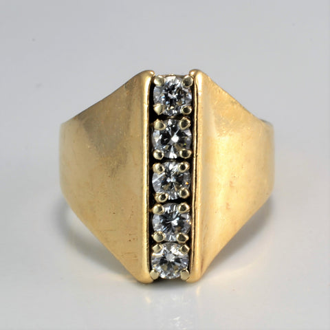 Five Stone Diamond Heavy Ring | 0.70 ctw, SZ 8.5 |