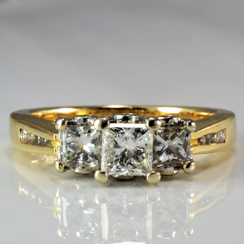 Three Stone Princess Cut Engagement Ring SZ 7