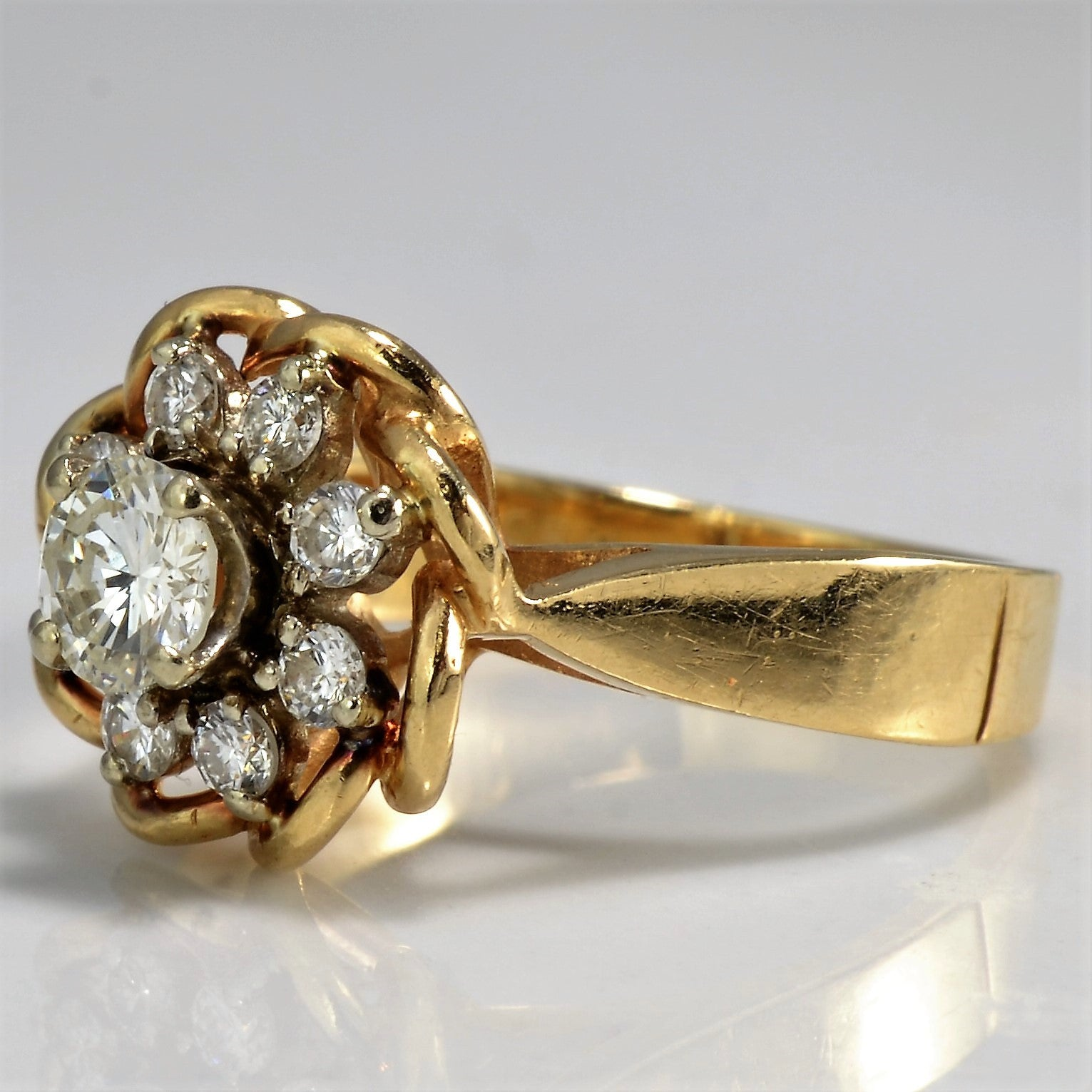 High Set Tapered Floral Diamond Ring | 0.47 ctw, SZ 3 |